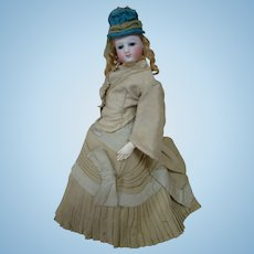 French Bisque Fashion Poupee on Excellent Kid Body, Original Wig and Awesome Blue Leather Side Button Boots