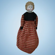 "German Blonde China Shoulder Head Doll by ABG called ""Curly Top"" china, 1870's-1880's.  Antique Body and Clothing.  China Arms, Legs"