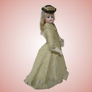 19 Inch French Bisque Portrait Face Jumeau Fashion Lady, Late 1860's, All Antique and Lovely Outfit, Mohair Wig, Great Body