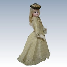 19 Inch Portrait Face Jumeau Fashion Lady, Late 1860's, All Antique and Lovely Outfit, Mohair Wig, Great Body