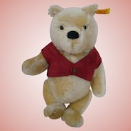 10-1/2 In. Steiff Winnie the Pooh, Mint Condition with Tag and Button in Ear, Made in Germany