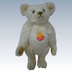 """12 In. Steiff BLANK Button, Chest Tax, """" Original """" White Bear, Mint Condition, Made in Germany"""
