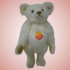 "12 In. Steiff BLANK Button, Chest Tax, "" Original "" White Bear, Mint Condition, Made in Germany"