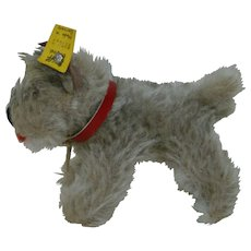 """4-1/4 In. Steiff Terrier """" Tessie """" with small silver button in ear and yellow tag, Made in Germany"""
