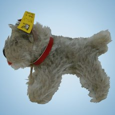 "4-1/4 In. Steiff Terrier "" Tessie "" with small silver button in ear and yellow tag, Made in Germany"