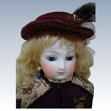 21 In. Early Marked E. Barrois French Fashion Poupee, Bisque Shoulder Head Picture of Perfection, Original Kid Body