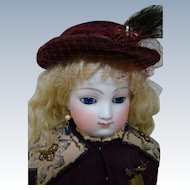21 In. Early Marked French Bisque E. Barrois French Fashion Poupee, Picture of Perfection, Original Kid Body