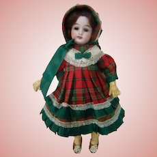 Special 8 In. German Bisque Head Doll on Jtd Compo Body with Straight Wrists, Great Vintage Outfit, Orig. Wig