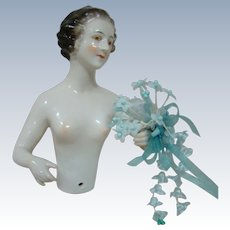 Very Large and Quality 6 In. Tall German Nude Pincushion or Half Doll, Rare Model and Size