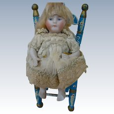"""Adorable All Bisque Kestner """"Sitting"""" Doll, Jointed Arms and Legs, with her Very Own Vintage Chair, Germany"""