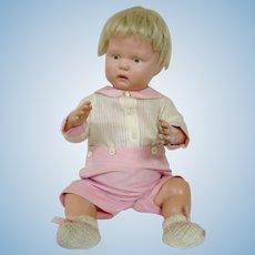 Antique American Schoenhut 16 In. Baby Doll, Spring Strung, Excellent Condition, Original Mohair Wig