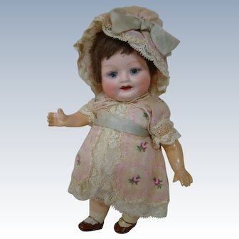 7 In. Bonnie Babe, Head by Gebruder Heubach, Germany, 5-pc. Compo/Mache Body, Dressed Adorably