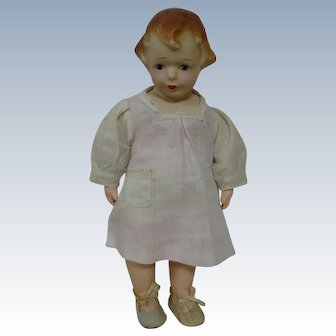 Precious 13 In. Composition Character MIBS by Amberg, Reddish Molded Hair, Shoulder Head, Cloth Body