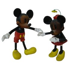 Ltd Ed Disney Characters Mickey and Minnie Mouse, All Wood, Jointed Fully