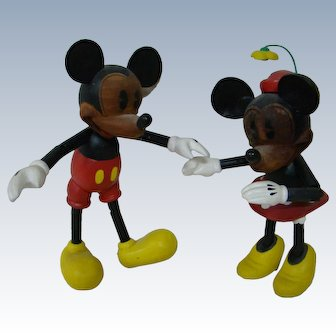 Ltd Ed Disney Characters Mickey and Minnie Mouse, All Wood, Segmented Joints