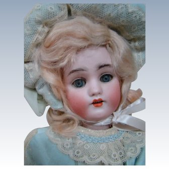 14 In. 1078 by Simon Halbig, Bisque Head on Fully Jtd Composition Body; Original Blond Wig; Great Outfit!