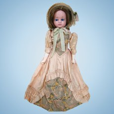 Original Wax-Over Paper Mache Doll, Human Hair Wig, Beautiful Clothes, Cloth Body, Mache Arms and Legs