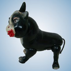 9 In. Composition Ferdinand the Bull by Ideal, Original Condition with Rose in Mouth, Jtd Head and Legs