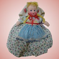 "12 In. Mollye Dressed International Cloth Doll ""Swedish"" with Masked Face, Mint and Original"