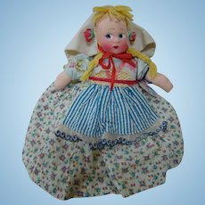 """12 In. Mollye Dressed International Cloth Doll """"Swedish"""" with Masked Face, Mint and Original"""