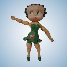 12 In. Wood Segmented Original Betty Boop in Rare Green Dress, ca:  1932; Boop Boop A Doop!!
