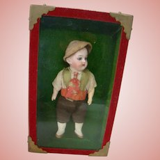 5-3/4 In. Bisque Head Swivel Neck German Child In a Shadow Box, Generations of Family Ownership with Provenance