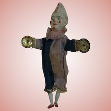9.5 In. German Original Bisque Head Clown Cymbal Player, Wood Arms and Legs