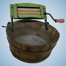 Antique Child or Large Doll Size Wooden Wash Tub with Attached Wringer
