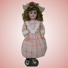 21 In. German Bisque Head Child Doll by J. D. Kestner on Original Marked Body, Full Original Mohair Wig