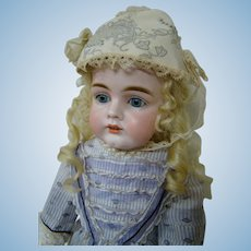 Charming 19 In. German Bisque Child Doll by J. D. Kestner, Original Composition Jointed Body, Harder Mold to Find, #161
