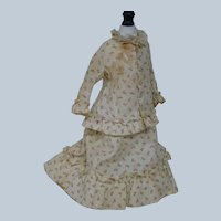 Antique Two-Piece Cotton Day Dress for French Fashion or a China, Parian or Paper Mache Approximately 14-15 In.