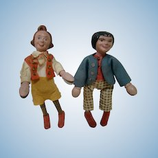 7-1/2-8-1/4 In. Original Wooden Schoenhut Characters Max and Moritz  of Comic Strip Fame