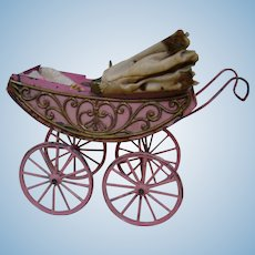 Antique German Soft Metal Filigree Carriage for Tiny Doll