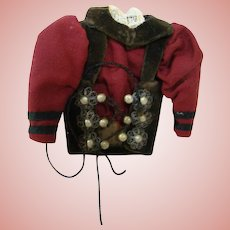 Antique Factory Original Cotton Velvet Lace-up Vest for German Doll, Metal Filigree, Laces Present
