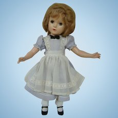 Hard Plastic 1947 M. Alexander 18 In. Alice in Wonderland, Original Clothes, Glued on Mohair Wig