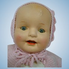 22 In. Composition and Cloth Mama Doll, ca:  1920-30's; Blue Sleep Eyes