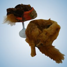 Fox Fur Wrap and Coordinating Hat with Feathers for a 20-24 In. Doll