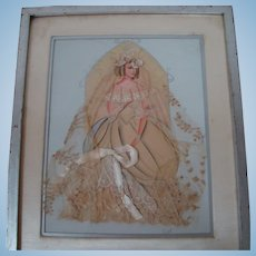 Ribbon / Lace Victorian Bride Doll, Water Colored and Framed by Pendleton Shop for Obsolete Sanger Dept Store, Dallas, TX
