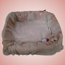 Factory Made Woven Basket and Coverlet for Antique Baby Doll and Accessories