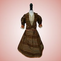 Vintage Three-Piece Fashion Ensemble, Handmade with Antique Silk and Laces