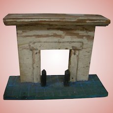 Wood Fireplace with Faux Stone / Brick Base for Large Dollhouse or Diorama