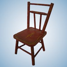 Doll Furniture Red Wooden Chair, Original Paint, Early 1900's