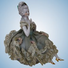 Beautiful Victorian Lady Half Doll with Legs Candy Container