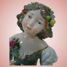 Rare Half Doll by Ernst Bohne, Girl with Flowers Pincushion Doll, Wonderful!