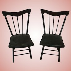 Pair of Antique Solid Wood Barley Twist Doll Chairs