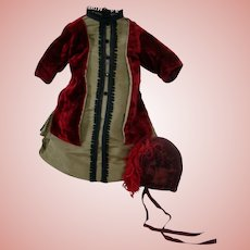 Delicious Cranberry and Olive Couture Outfit, Matching Hat, for French Bebe or German Doll