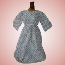 Nice Antique Cotton Print Dress for a China, Paper Mache or Other Early Doll