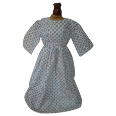 Nice Antique Cotton Small Print Dress for a China, Paper Mache or Other Early Doll