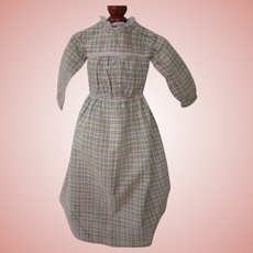 Nice Antique Plaid Cotton Dress for Early Doll