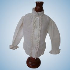 Antique Off-white Cotton Blouse for French Fashion or Lady Doll, Very Detailed